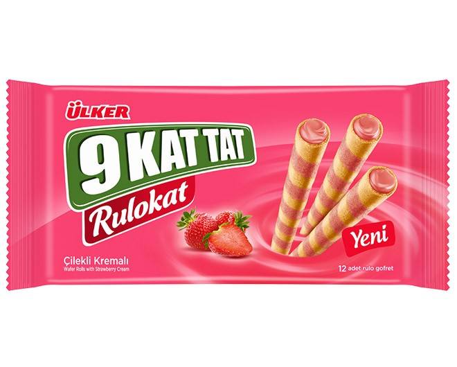 Ülker 9 Kat Tat Rulokat 96g Çilekli Gofret