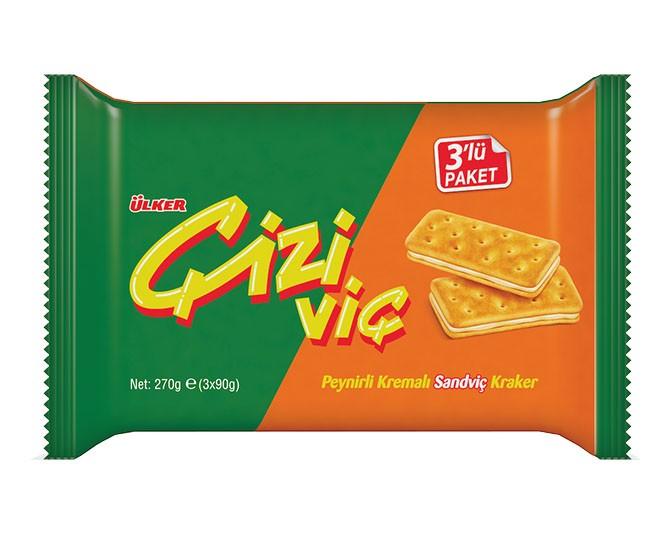 Ülker Çiziviç Peynirli Kremalı Sandviç Kraker - 3'lü Paket