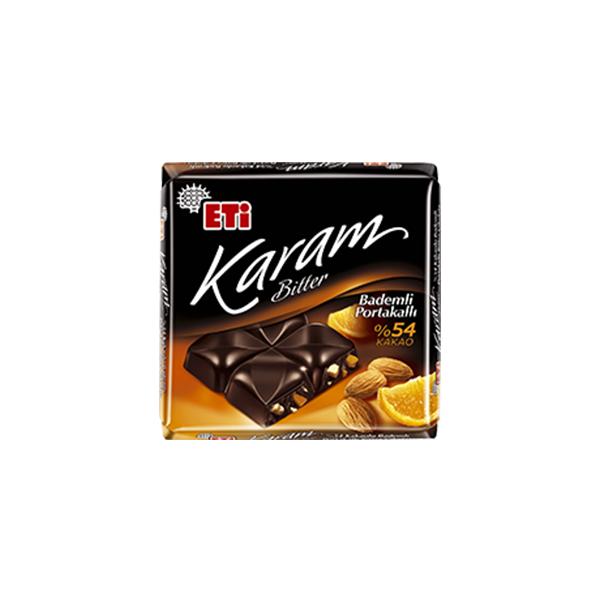 Eti Karam %54 Kakaolu Portakal & Badem Parçacıklı Bitter Çikolata