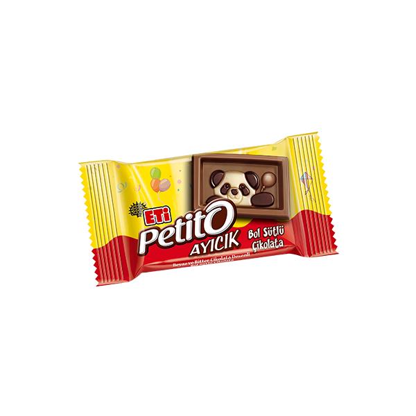 Eti Petito Ayıcık Beyaz ve Bitter Çikolata Desenli Bol Sütlü Çikolata 9 Gr.