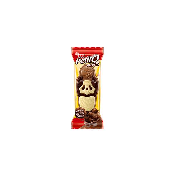 Eti Petito Beyaz ve Bitter Çikolata Desenli Mısır ve Buğday Gevrekli Bol Sütlü Çikolata